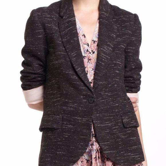 Anthropologie Jackets & Blazers - Anthropologie Marbled Black Knit Blazer Sz M ✨